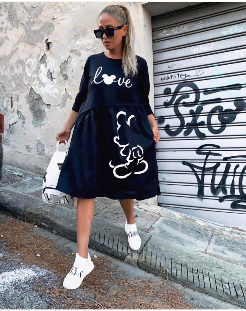Женское свободное платье, спереди качественный накат. Размеры-42-44,46-48. Ткань-двухнитка Penye.