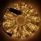 Светодиодная LED новогодняя гирлянда прозрачный силиконовый шланг 9.8 м Дюралайт желтый