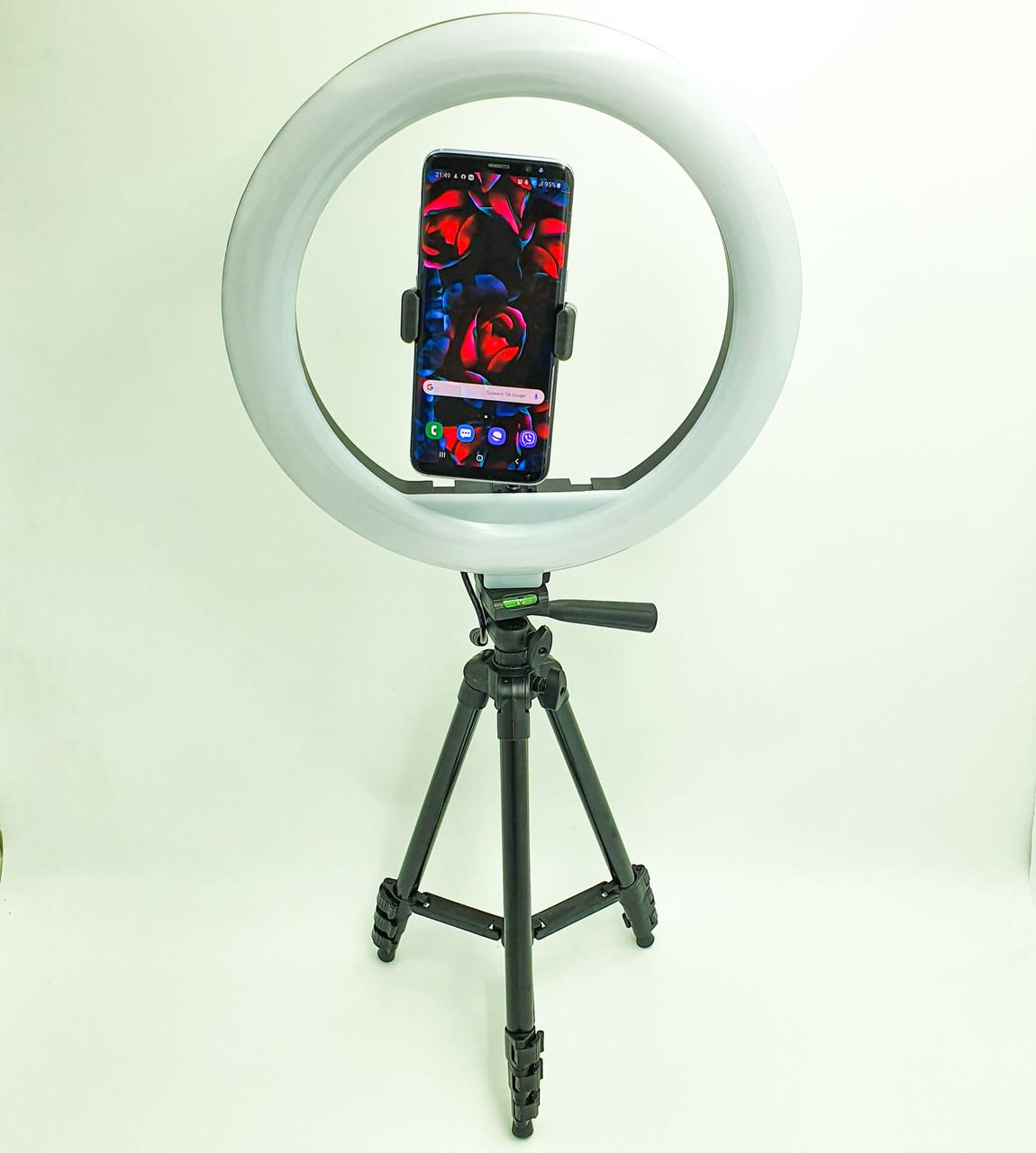 Набор блогера 2 в 1 кольцевая LED лампа 30 см 30W с держателем для телефона и штатив 102 см селфи кольцо с