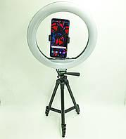Набор блогера 2 в 1 кольцевая LED лампа 30 см 30W с держателем для телефона и штатив 102 см селфи кольцо с, фото 1