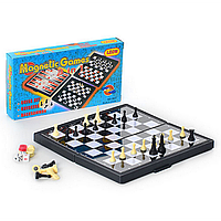 Шахматы 3831 (96шт) 3 в 1, в кор-ке, 20,5-11-3см