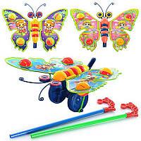 Каталка 305 (72шт) на палке бабочка-погремушка машет крыльями, 3 вида  27-20-8см