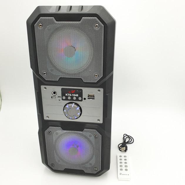"""Портативная беспроводная колонка аккумуляторная Bluetooth акустическая система 2х4"""" с пультом USB FM 2х5 Вт"""