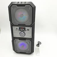 """Портативная беспроводная колонка аккумуляторная Bluetooth акустическая система 2х4"""" с пультом USB FM 2х5 Вт, фото 1"""