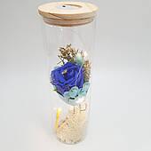 Роза в колбе с LED подсветкой 26 см синяя