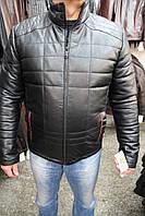 Куртка кожаная мужская 111-GUCI Черн Зик
