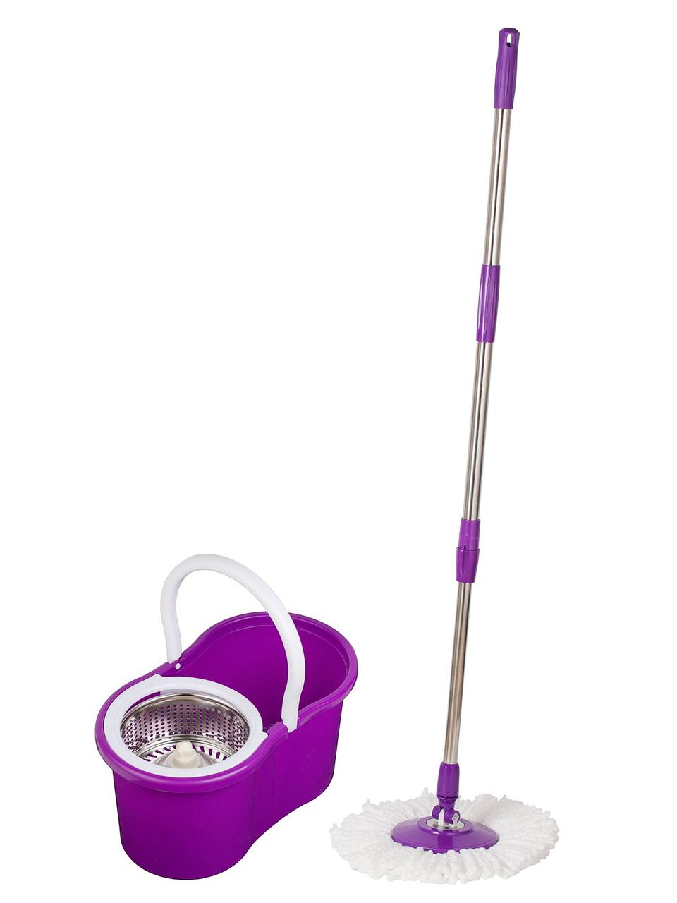 Набор для уборки с отжимом ведро и швабра 110 см Spin MOP 360 фиолетовый