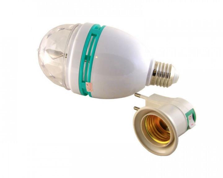 Диско LED лампа вращающаяся для вечеринок дискотек E27 с патроном lamp LY-399 CNV (1222)