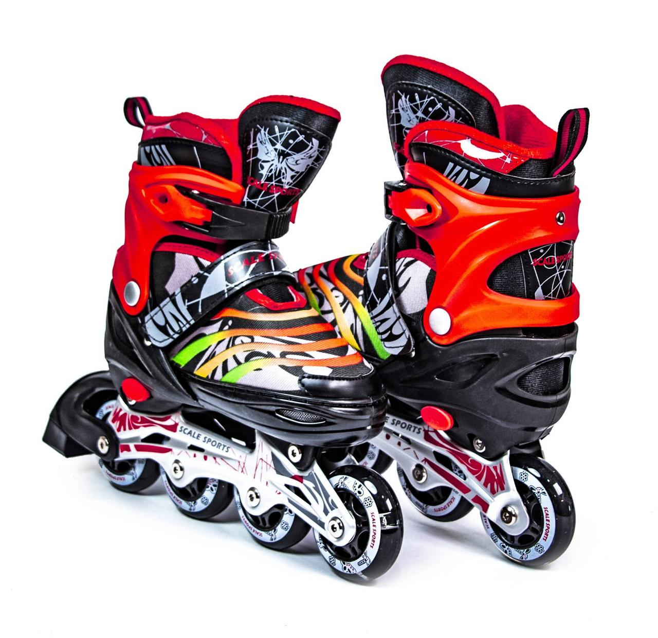 Ролики Scale Sports раздвижные роликовые коньки LF 907M красно-черные, размер 38-41