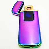 Аккумуляторная электро USB зажигалка Сенсорная спиральная с индикатором заряда в подарочной коробке Lighter радужная