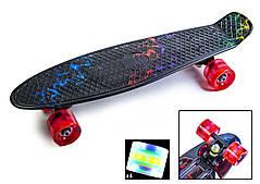 """Пенни борд с рисунком и светящимися колесами мини скейт Penny Board """"Молния"""""""