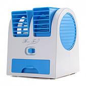 Мини кондиционер портативный охладитель и увлажнитель воздуха от USB и батареек вентилятор Fan синий