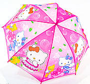 Детский зонтик трость полуавтомат зонт Hello Kitty
