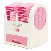 Мини кондиционер портативный охладитель и увлажнитель воздуха от USB и батареек вентилятор Fan розовый