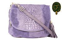 Итальянская замшевая сумка-мессенджер, средняя B6L0-2-008