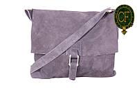 Итальянская замшевая сумка-мессенджер, средняя B600-01
