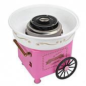Аппарат для приготовления сладкой ваты на колесиках Cotton candy maker розовая