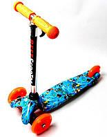 Самокат дитячий з регульованою ручкою і світяться колесами Micro Mini Scooter малюнок Nemo, фото 1