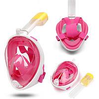 Маска для плавания ныряния дайвинга и снорклинга полнолицевая с креплением на камеру FREE BREATH S/M розовая, фото 1