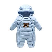 Комбинезон демисезонный детский Тедди, голубой Berni Kids (80)