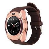 Умные смарт часы телефон Bluetooth microSD Smart Watch Phone V8 Золото