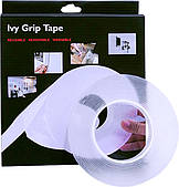 Многоразовая крепежная лента гелиевая на любые поверхности UKC Ivy Grip Tape 3 м прозрачная