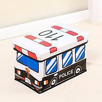 Пуф-ящик для игрушек Полицейский автобус Berni Kids