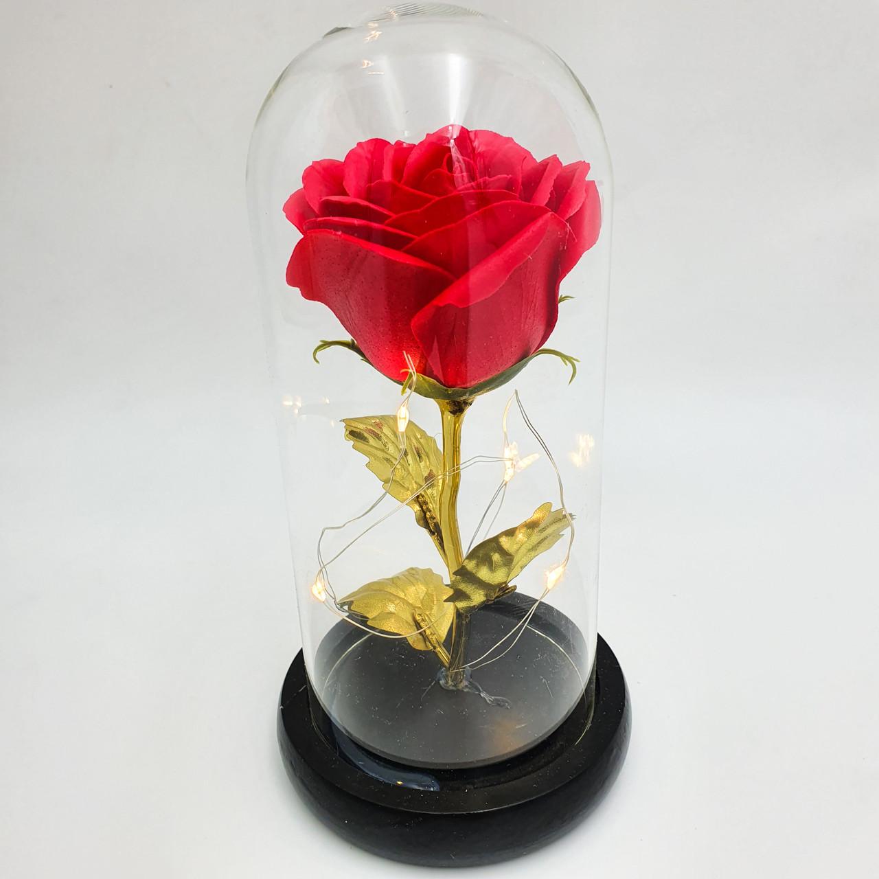 Роза в колбі з LED підсвічуванням 16 см романтичний подарунок золоті листя червона