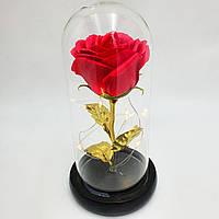 Роза в колбі з LED підсвічуванням 16 см романтичний подарунок золоті листя червона, фото 1