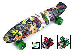 """Пенни борд с рисунком и светящимися колесами мини скейт Penny Board """"Heroes"""""""