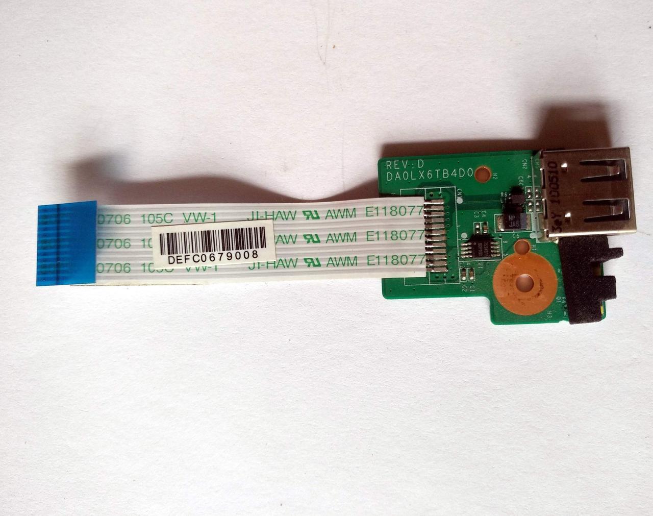 435 Разъем USB HP dv6-3000 - DA0LX6TB4D0 36LX6UB0000 + шлейф