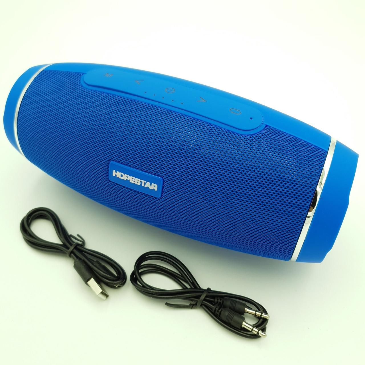Беспроводная аккумуляторная колонка Bluetooth акустика FM MP3 AUX USB Hopestar H27 синий