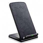 Беспроводное быстрое зарядное устройство 2 катушки QI Wireless FAST CHARGE кожа черный