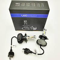 Комплект H4 2 LED лампы светодиодные головного света с радиатором 12в COB 25Вт 6000K 4000Lm HeadLight S1 H4, фото 1