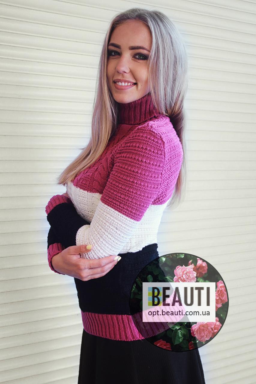 Трёхцветный женский свитер 44-48