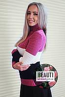 Трёхцветный женский свитер, клевер+белый+чёрный