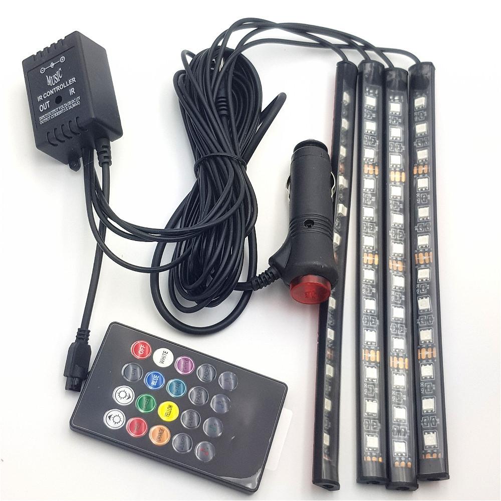 Led Подсветка для авто RGB водонепроницаемая 7 цветов 4 Ленты с пультом 3306