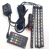Led Подсветка для авто RGB водонепроницаемая 7 цветов 4 Ленты с пультом 3306, фото 1