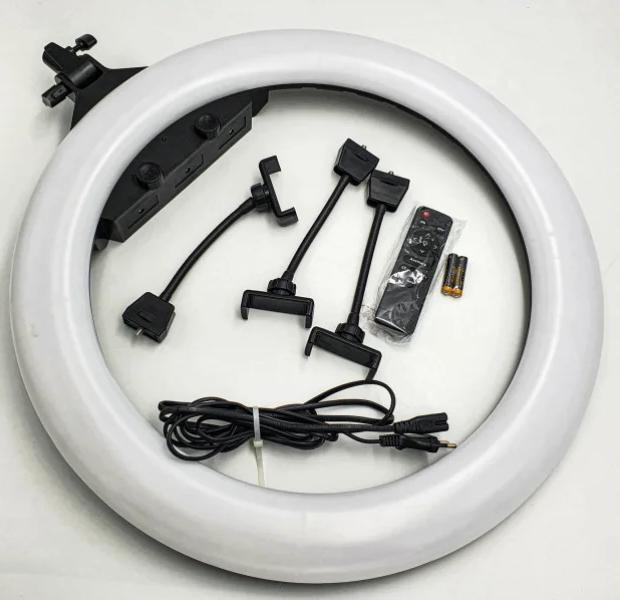 Кільцева LED лампа 55см 55W на 3 тримача для телефону 3 режими світіння сумка пульт Ring Light ZB-F488