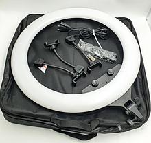 Кільцева LED лампа 55см 55W на 3 тримача для телефону 3 режими світіння сумка пульт Ring Light ZB-F488, фото 2