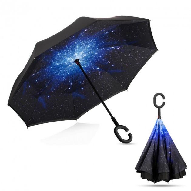 Умный зонт наоборот трость обратного сложения Up-brella Звёздное небо