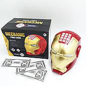 Копилка детский сейф с кодовым замком и купюроприемником для бумажных денег и монет Шлем железного человека UKC Iron Man