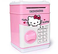 Копилка детский сейф с кодовым замком и купюроприемником для бумажных денег и монет UKC Hello Kitty розовый