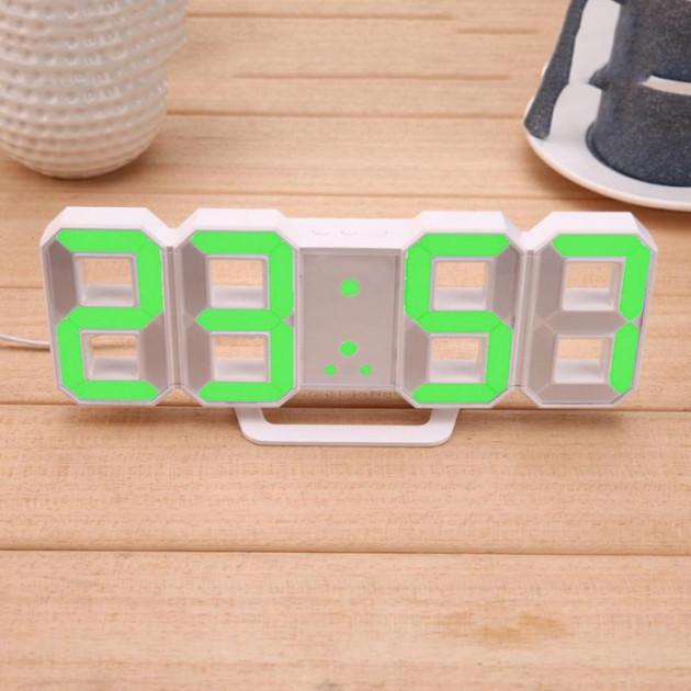 Настольные LED часы электронные с будильником термометром от USB Caixing CX-2218 зеленая подсветка