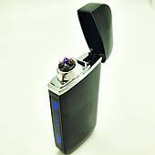 Зажигалка электроимпульсная USB сенсорная электрическая аккумуляторная 2 дуги в подарочной коробке UKC 7036 черная