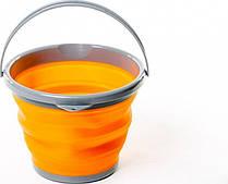 Ведро складное силиконовое дорожное круглое 10л оранжевое