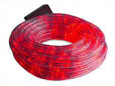 Светодиодная LED новогодняя гирлянда прозрачный силиконовый шланг 9.8 м Дюралайт красный