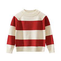 Свитер детский Крупная полоса, красный 27 KIDS (90)