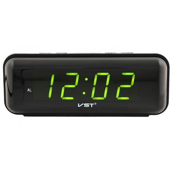 Настольные часы будильник сетевые 220В с зеленой подсветкой VST-738 черный