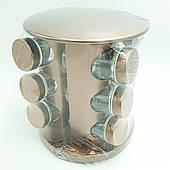Набор емкостей баночек для специй на вращающейся подставке карусель 12 шт Spice Carousel золотистый